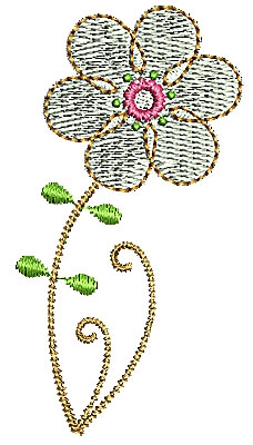 Embroidery Design: Summer flower 4 1.34w X 2.54h