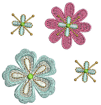 Embroidery Design: Summer flowers 2 2.83w X 2.97h