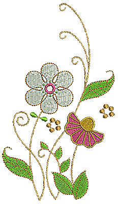 Embroidery Design: Summer flowers with swirls 1 3.94w X 6.91h