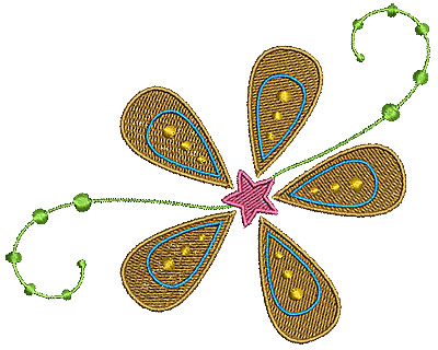 Embroidery Design: Summer flower 5 5.00w X 4.01h