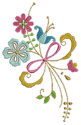Embroidery Design: Summer flowers with swirls 2 4.17w X 6.50h