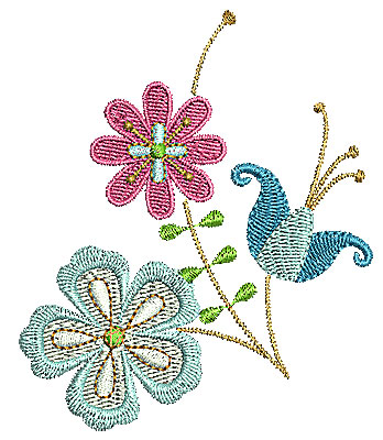 Embroidery Design: Summer flowers 4 2.93w X 3.48h