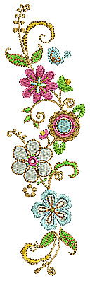Embroidery Design: Summer flowers 5 2.06w X 6.97h