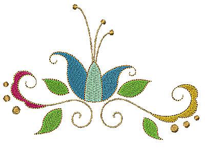 Embroidery Design: Summer flower with swirls 4.52w X 6.05h