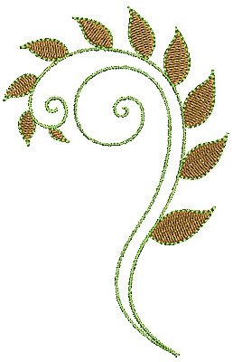 Embroidery Design: Floral swirl 1 3.21w X 5.00h