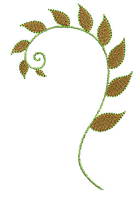 Embroidery Design: Floral swirl 2 3.21w X 4.95h