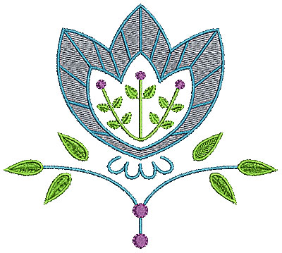 Embroidery Design: Summer floral 1 4.96w X 4.44h