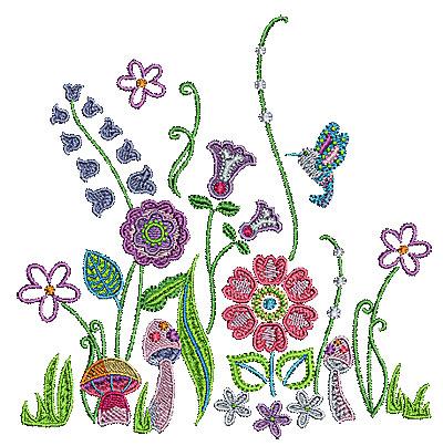 Embroidery Design: Summer floral garden 1 5.91w X 6.02h