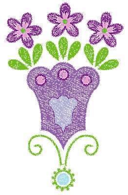Embroidery Design: Summer flower 19 3.42w X 5.51h