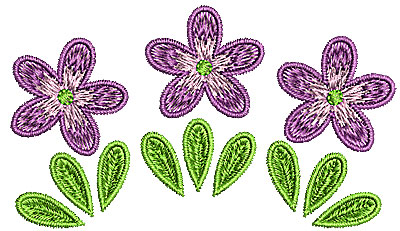 Embroidery Design: Summer flowers trio 3.42w X 1.96h
