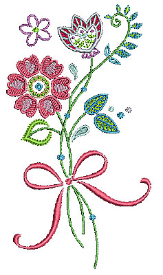 Embroidery Design: Summer flowers 20 3.66w X 6.69h