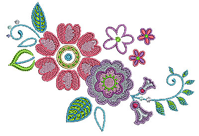 Embroidery Design: Summer flowers 21 6.49w X 4.47h