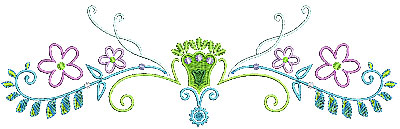 Embroidery Design: Summer floral with swirls 9.05w X 2.76h