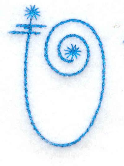 Embroidery Design: U small 1.11w X 1.61h