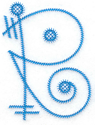 Embroidery Design: R large 2.86w X 3.85h