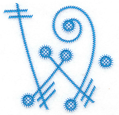 Embroidery Design: W large 3.68w X 3.82h