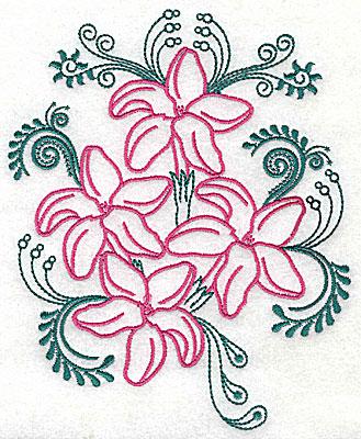 Embroidery Design: Sweet Jasmine design H large 7.38w X 9.00h