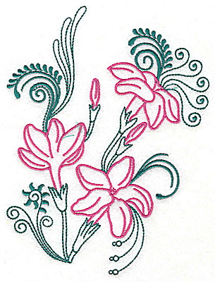 Embroidery Design: Sweet Jasmine design K large 7.25w X 9.63h