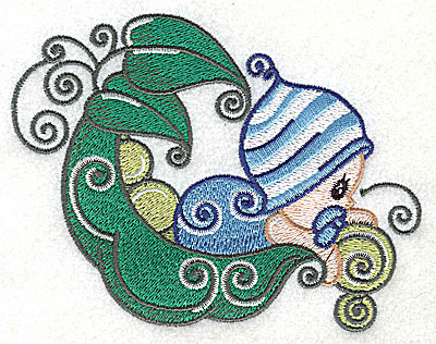 Embroidery Design: Baby leaning over pea pod large 4.97w X 3.74h
