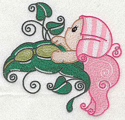 Embroidery Design: Baby hanging off pea pod large 4.94w X 4.74h