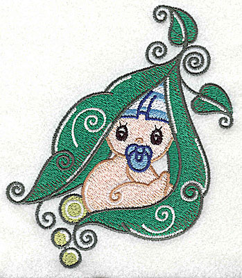 Embroidery Design: Baby snuggling in pea pod large 4.13w X 4.95h