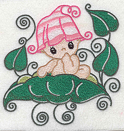 Embroidery Design: Baby sitting on pea pod large 4.77w X 4.96h