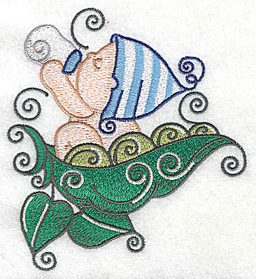 Embroidery Design: Baby with bottle on pea pod large 4.42w X 4.93h