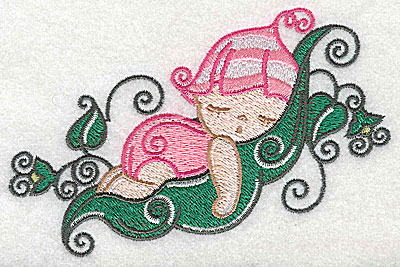 Embroidery Design: Baby snoozing on pea pod large 4.97w X 3.22h