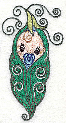 Embroidery Design: Baby wrapped in pea pod large 2.67w X 4.97h
