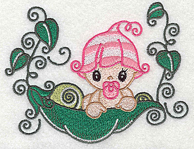 Embroidery Design: Baby on pea pod large 4.97w X 3.87h