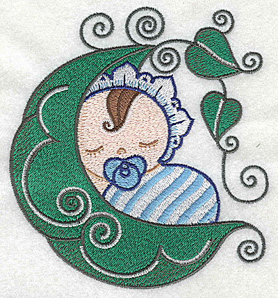 Embroidery Design: Baby asleep in pea pod large 4.50w X 4.91h