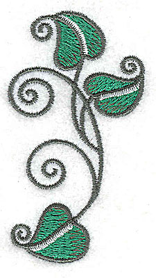 Embroidery Design: Leaves and vines B 1.63w X 3.01h