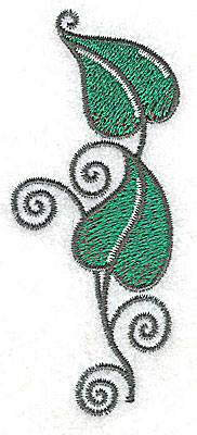 Embroidery Design: Leaves and vines D 1.43w X 3.41h