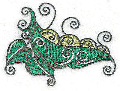 Embroidery Design: Peapod leaves and vines3.76w X 2.83h