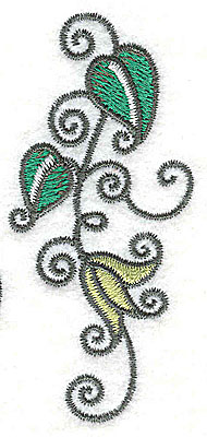 Embroidery Design: Leaves and vines G 1.45w X 3.15h