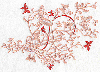 Embroidery Design: Butterfly swirls large 9.06w X 6.41h