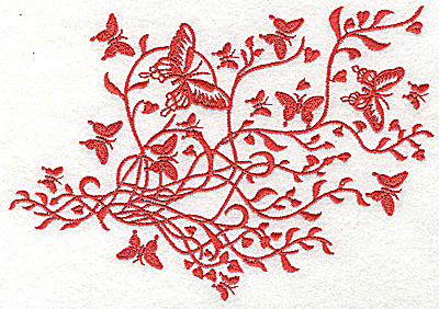 Embroidery Design: Butterfly swirl single color 6.97w X 4.93h