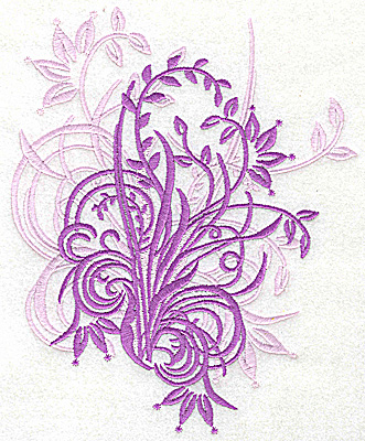Embroidery Design: Floral swirl large 6.29w X 7.74h