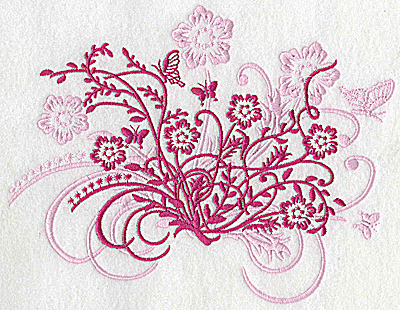 Embroidery Design: Butterfly and flower swirl large 8.41w X 6.52h