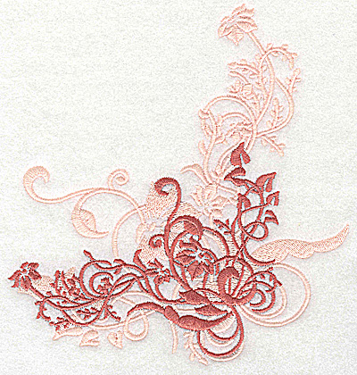 Embroidery Design: Floral ivy swirl large 6.45w X 6.90h