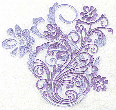 Embroidery Design: Flower swirl large 6.85w X 6.45h
