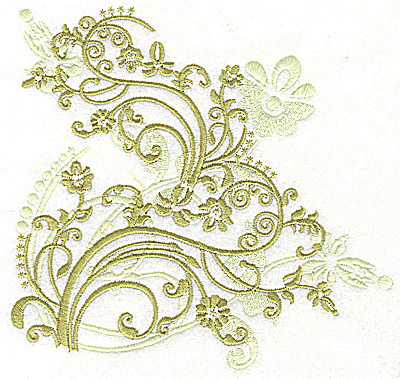 Embroidery Design: Floral variation swirls large 6.86w X 6.45h