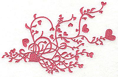 Embroidery Design: Heart swirls single color 6.97w X 4.49h