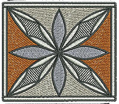 Embroidery Design: Southwest flower square design 3.15w X 2.74h