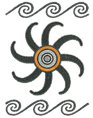 Embroidery Design: Southwest sun swirls 4.49w X 6.11h