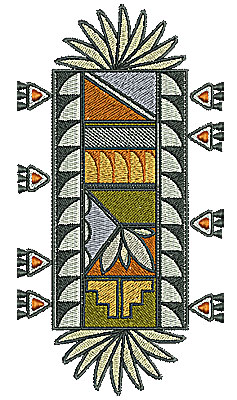 Embroidery Design: Southwest decorative design with triangles 3.57w X 6.77h