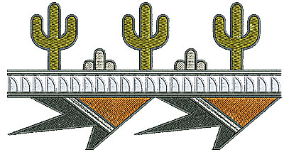 Embroidery Design: Southwest cactus textended border 6.78w X 3.64h