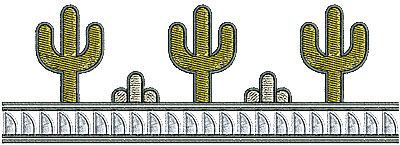 Embroidery Design: Southwest cactus border 6.76w X 1.72h