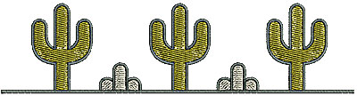 Embroidery Design: Southwest simple cactus border 6.76w X 1.72h