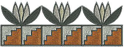 Embroidery Design: Southwest floral aztec border 6.23w X 2.30h